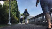 STRESA, ITALY - 13 SEPTEMBER 2017 : People walking on embankment. Warm sunny day in Italy. Wideo
