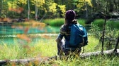 そのまま : Girl in hat with backpack sits on a fallen tree by blue mountain lake. Back view