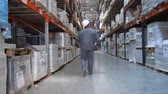 obal : An employee at a logistics warehouse checks products. A man walks along huge shelves with boxes. 4K Slow Mo