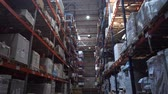 distribuidor : Huge logistic warehouse. Camera movement along high shelves with boxes. 4K Slow Mo