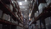 distribuidor : Logistics warehouse. Shelving with products. A lot of boxes on the shelves. Camera in motion. 4K Slow Mo