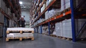 distribuidor : A warehouse worker carries huge boxes on a manual forklift. 4K Slow Mo Archivo de Video