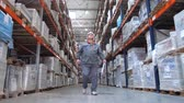 obal : A camera in motion accompanies the warehouse worker. A man goes with a folder between the shelves with the goods. 4K Slow Mo Dostupné videozáznamy
