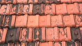 çini : Red rooftop baked clay tiles old and weathered panning camera high definition stock footage clip. Stok Video