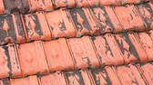 meghatározás : Red rooftop baked clay tiles old and weathered panning camera high definition stock footage clip. Stock mozgókép