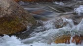 pedregulhos : Fresh water mountain river scene with rapid flowing fresh rain water and large boulders, panning camera high definition.