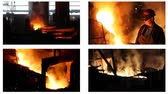 pouring : Hard work in the foundry, workers controlling iron smelting in furnaces, too hot and smoky working environment, split screen
