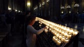 interior : Prayer Candles In Notre Dame Cathedral, Paris France