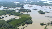 Aerial view of flooding river Sava in Serbia