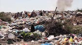 sloppy : Ecological pollution, gypsies collecting plastic bottles Stock Footage
