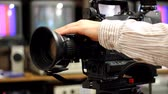 operador : Professional shooting with a Camera, Betacam Sp in studio Stock Footage