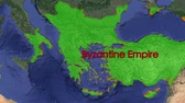 bizantino : Byzantine Empire boundaries. Imperial on 3D rotating old historic world map. Gigantic christian crusader state in middle age. Historical border mapping animation conquest