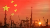 Industrial concept with China flag at sunset Dostupné videozáznamy