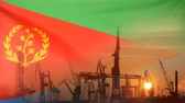 Industrial concept with Eritrea flag at sunset