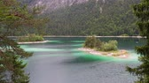 zugspitze : Small island at Eibsee, mountain lake in Bavaria, Zugspitze Stock Footage