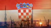 Industrial concept with Croatia flag at sunset