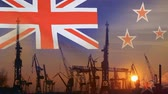 Industrial concept with New Zealand flag at sunset Dostupné videozáznamy