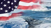 bayrak : Timelapse of melting glaciers with US flag Stok Video