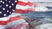 климат : Timelapse of melting glaciers with US flag Стоковые видеозаписи