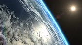 blue sky : Beautiful slow sunrise from Earth orbit. View from ISS. Clip contains earth, sunrise, space, sun, awaken, clouds, water, sunset, planet, globe.