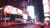 stary : new york city - september 16: times square broadway theaters and advertising leds. september 16, 2014 in manhattan, new york city Wideo