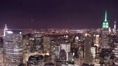 Центральная Америка : top of the rock night panorama 4k time lapse from new york