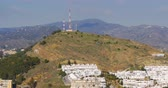 sol : malaga sunny day mountain telephone station 4k spain Stock Footage