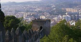 sol : malaga sunny day city gibralfaro castle tourist view 4k spain