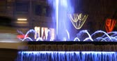 modernism : night light colored fountain 4k barcelona spain