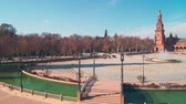 plaza de espana : seville sunny day palace of spain balcony panorama view 4k time lapse