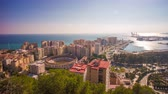 tourada : spain malaga city sun light bull ring bay panorama 4k time lapse Stock Footage