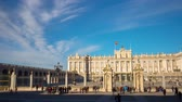 classic : madrid sun light royal palace tourist craowded view 4k time lapse spain Stock Footage