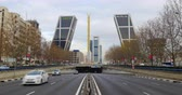 torres : madrid day time gate to europe twin towers gold monument 4k spain