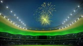 fajerwerki : stadium in lights with fireworks. loop able. 3d rendering