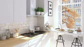 rendering : cinemagraph of a nordic kitchen . 3D rendering. autumn concept. hd. loop