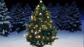 rendering : 3d rendering of a shiny christmas tree in the woods. Stock Footage