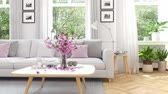residência : scandinavian modern living room in townhouse. 3d rendering Stock Footage