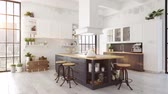 nórdico : modern nordic kitchen in loft apartment. 3D rendering