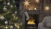 rendering : cozy christmas interior with fire place and christmas tree. 3D RENDERING