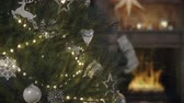 уютный : cozy christmas interior with firelace and christmas tree. 3D RENDERING
