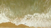 vôo : woman walking at the beach. top view from drone