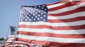 yönetme : american flags waving with a blue sky background. independence day Stok Video