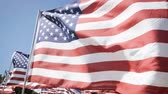 yönetme : slow motion american flags waving with a blue sky background. independence day