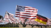 politics : waving german flag in between american flags. diplomatic concept