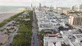 atlantik : Top view of Ocean Drive. South Beach Miami Stok Video