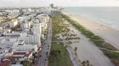Top view of Ocean Drive. South Beach Miami Stock Footage