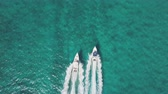 jacht : drone bird view of 2 boats in the bahamas. summer vaction