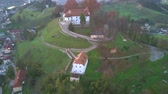 Aerial: Flying beside city Sevnica beside river Sava in Slovenia. Stock Footage