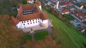 donald trump : Aerial: flying around castle of city Sevnica beside river Sava in Slovenia. Beautiful small city with castle is the birth place of first lady Melania Trump.