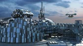 Science fiction cityscape with metallic structures, marina and hoovering aircrafts for futuristic or fantasy animated backgrounds Stok Video